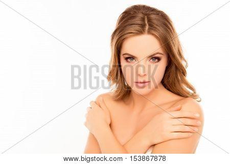 Sensitive Beautiful Young Woman Touching Her Shoulders