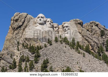An iconic view of the famous Mount Rushmore.