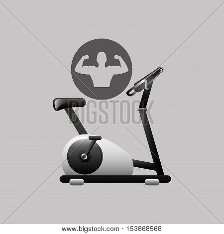 fitness silhouette static bike gym graphic vector illustration eps10