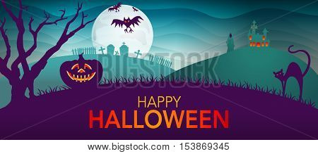 Night landscape with tree, pumpkin, cat and haunted house - Halloween background