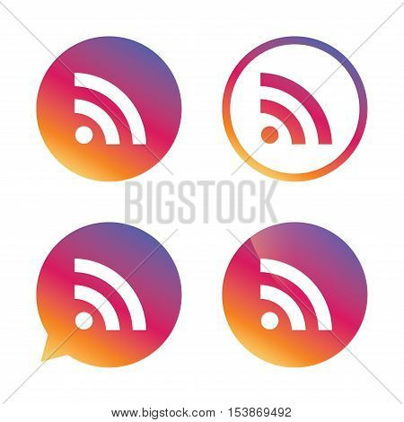 RSS sign icon. RSS feed symbol. Gradient buttons with flat icon. Speech bubble sign. Vector
