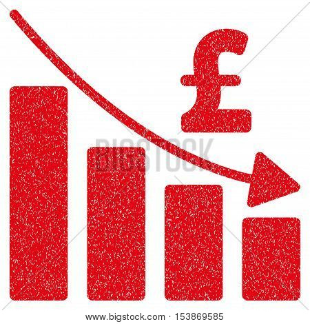 Pound Recession Bar Chart grainy textured icon for overlay watermark stamps. Flat symbol with dirty texture. Dotted vector red ink rubber seal stamp with grunge design on a white background.