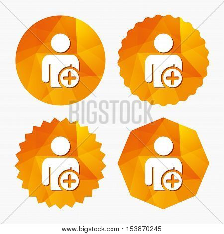 Add user sign icon. Add friend symbol. Triangular low poly buttons with flat icon. Vector