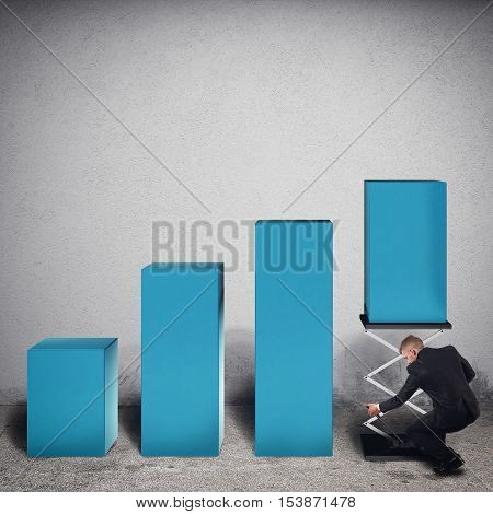 Businessman tampers a step of statistic lifting it with a spring to increase profits. 3D Rendering
