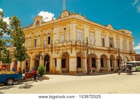 Cayo Coco island, Moron town, Cuba, July 23, 2013, Nice looking old classic style building in small Cuban town Moron