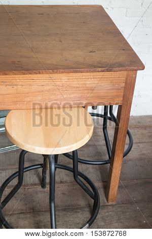 Wooden table and chair set stock photo