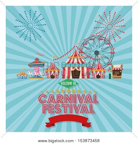 striped tent carousel and ferris wheel icon. Carnival festival fair circus and celebration theme. Colorful design. Vector illustration