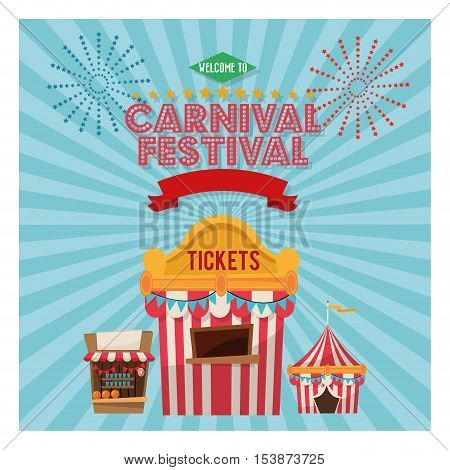 striped tent and tickets icon. Carnival festival fair circus and celebration theme. Colorful design. Vector illustration