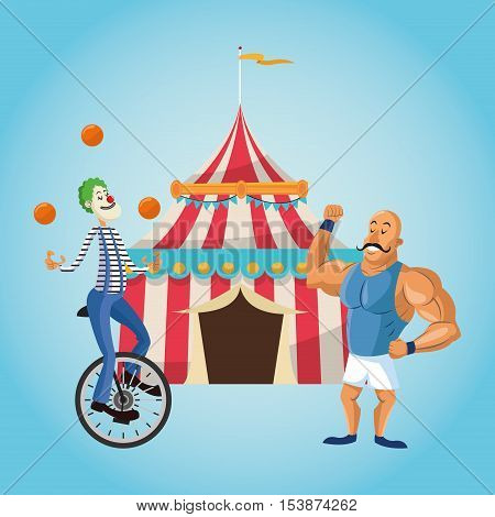 striped tent strength man and clown icon. Carnival festival fair circus and celebration theme. Colorful design. Vector illustration