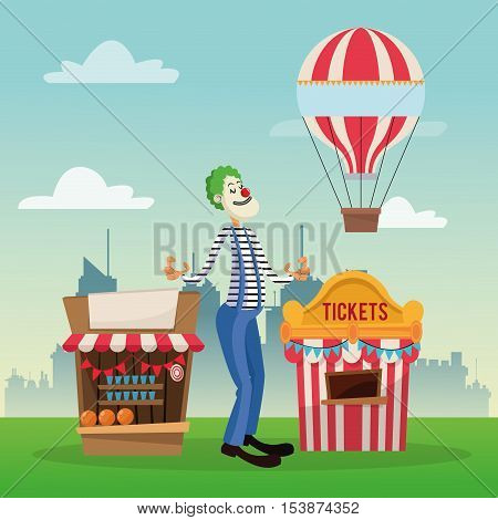 tickets tent hot air balloon and clown icon. Carnival festival fair circus and celebration theme. Colorful design. Vector illustration