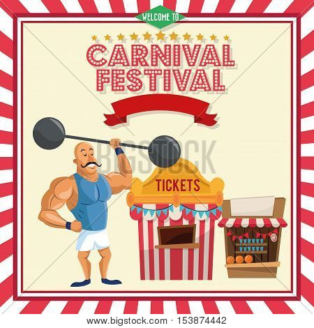 stength man and tickets tent icon. Carnival festival fair circus and celebration theme. Colorful design. Vector illustration