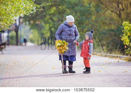 Senior woman and her great grandson on walk in autumn park
