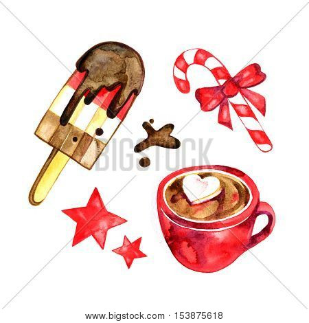 Watercolor set of sweets for holiday: ice cream, candy, hot chocolate. Christmas illustration