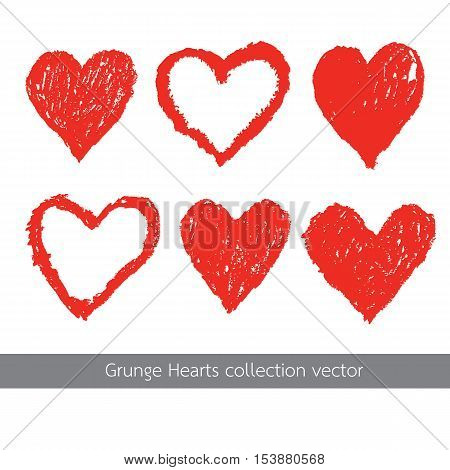 grunge red heart texture icon vector set