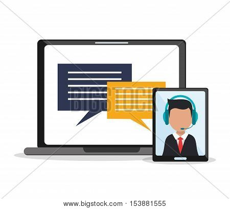 Man operator tablet and laptop icon. Call center and technical service theme. Colorful design. Vector illustration