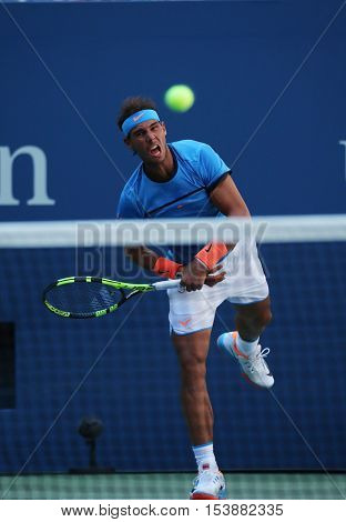 NEW YORK - AUGUST 29, 2016: Grand Slam champion Rafael Nadal of Spain in action during US Open 2016 first round match at Billie Jean King National Tennis Center