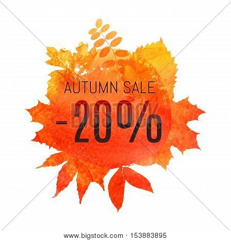 Autumn Leaf Foliage Watercolor. Autumn Sale - 20 % Off . Fall Sale. Web Banner Or Poster For E-comme