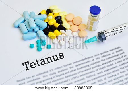 Drugs for tetanus treatment, medical concept, blurred text