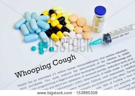 Drugs for whooping cough treatment, blurred text, medical concept