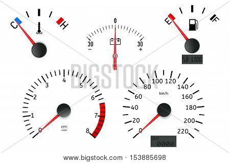 Dashboard detailed elements: speedometer tachometer fuel gauge temperature gauge. Vector illustration