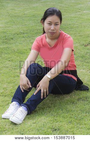 thai woman in lawn , asian girl