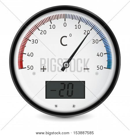 Thermometer. Outside round temperature gauge. Vector illustration isolated on white