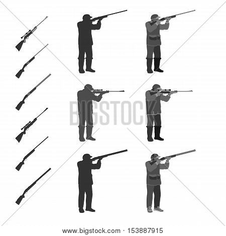 man shoots from a rifle at the target and hunting. set in different poses. rifle separately.  totally vector illustration. isolate on white background. easy to cut to your projects summary