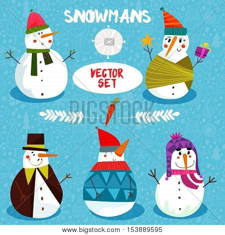 Snowman Collection.set Of Winter Holidays Snowman. Cheerful Snowmans In Different Costumes.cartoon V