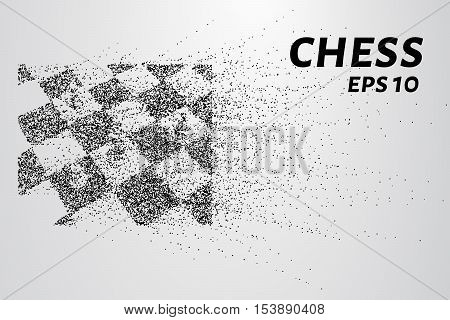 Chess of particles. Silhouette of chess consists of small circles and dots.