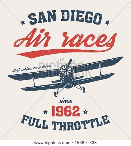 San Diego T-shirt Design, Print, Typography, Label With Old Airplane. Vector Illustration.