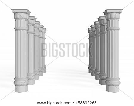 3D visualization of columns on a white background, 3D rendering