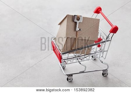 Shopping cart with model of cardboard house on gray background, buying a new home or sale of real estate concept.