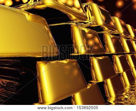 Diugital Illustration Of Gold Bullions