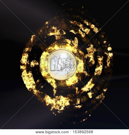 Digital 3D Rendering of a burning Euro Coin