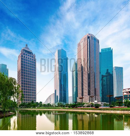 Shanghai city view with oriental pearl tower landmark of Shanghai beside huangpu riv
