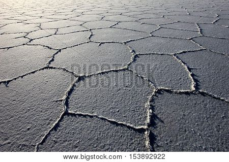 Structure on Salar de Uyuni, salt lake, is largest salt flat in the world, altiplano, Bolivia, South America