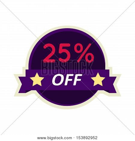 Sale sticker vector illustration. Flat style. Round bright sticker with 25 percent off text. For store sales and discounts advertising. Product label design. Black friday. On white background