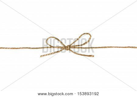 String or twine tied in a bow isolated on white background. Holiday gift or present concept.