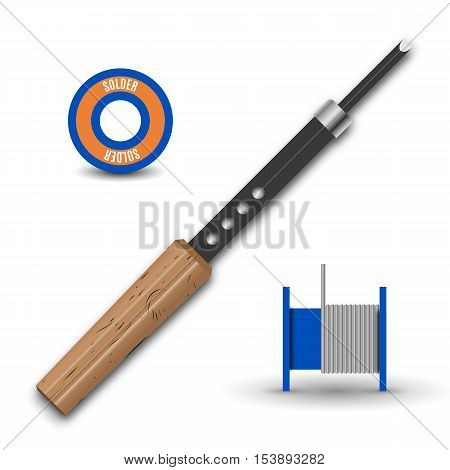 Realistic soldering iron with a wooden handle and solder isolated on white background retro design element tool vector illustration.