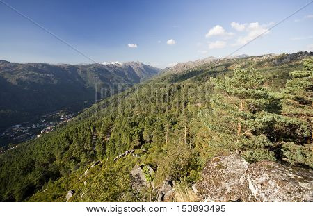 View from the Pedra Bela Viewpoint at 800 meters altitude of the Peneda-Geres National Park in Terras do Bouro region Portugal.