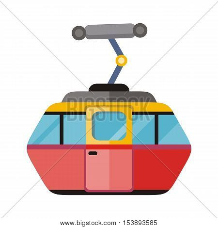Funicular railway, cable railway, cable car isolated on white. Ski lift, trolley car, transportation tourism, travel cabin, winter vacation, ropeway, elevator outdoor aerial. Cog railway Vector