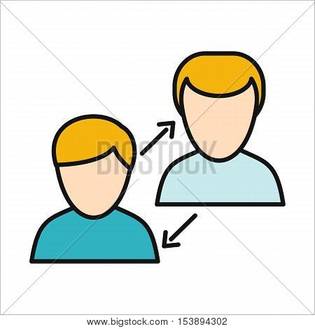 Human interaction icon. Human figures. Unity concept, teamwork dialog, human network, people organization, human resource management. Isolated object on white background. Vector illustration.