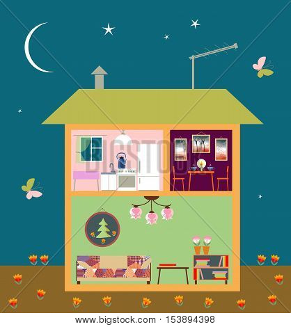 Two-storey house in cut. Cute home interior with furniture. Night scene. Vector illustration.