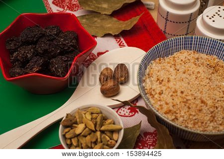 Cooking with nutmeg, prunes and cardamom. Nutmeg in menu for perfect dinner.