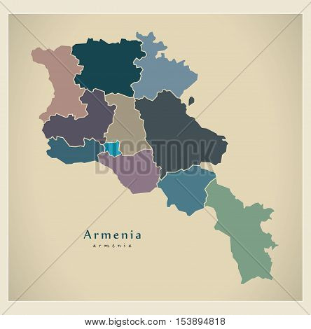 Modern Map - Armenia with regions colored political AM vector
