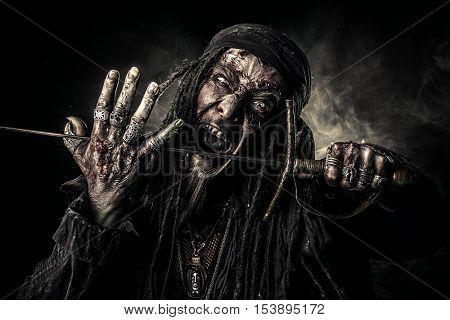 Fantasy adventure novel. Terrible evil pirate, risen from the dead. Halloween.