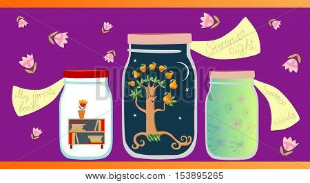 Allegorical vector illustration. My favorite books, summer night and summer scents in glass jars on lilac background. Medicine for the soul.