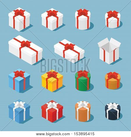 Isometric vector set of gift boxes / presents. Collection of gift boxes with a bows of different type - square boxes round boxes opened boxes and boxes of some different colors.