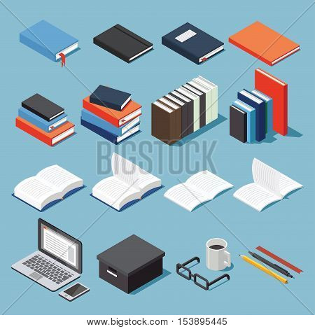 Isometric library and educational equipment vector set: paper different types of books stack of books pen pencil bookmarks laptop glasses box open book and textbook.