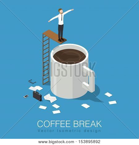 Coffee break isometric concept stock vector illustration. Business man has a break leaves his case papers phone and glasses then jumps to the giant cup of coffee.